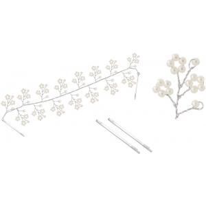 Haarkamm mit Perlenblumen und Klemmen