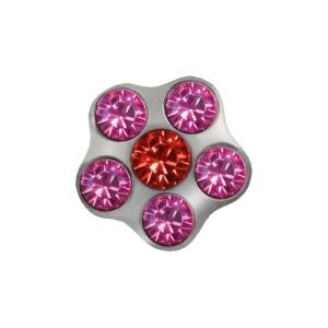 Ohrstecker Easypiercy Flower weiß Rubin/Rosé